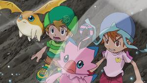 Patamon, T.K., Biyomon and Sora