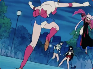 Sailor Moon jumping back from Wicked Lady