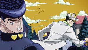 Jotaro punches Josuke