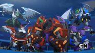 Five Fusion Bakugan facing Haavik's Thrall