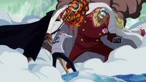Shanks saves Cobi from Akainu