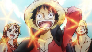 Luffy, Zoro and Nami in the new Eyecatch in Wano Arc
