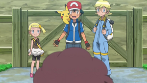 PKMXYEP53 - Ash Tells Grace Serena's Been Taking Care of Him and Others