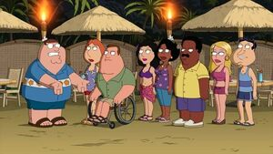 Peter, Lois, Joe, Cleveland, Quagmire, Bonnie and Donna on Vacation