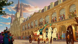 Tiana and Naveen in their wedding carraige