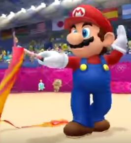 Mario in rhythmic ribbon