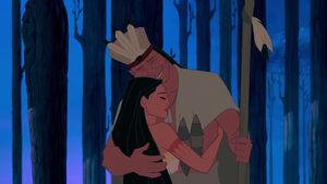 Pocahontas hugs her father