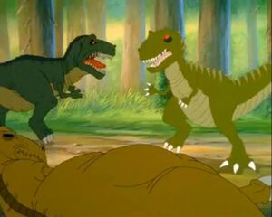 Chomper's father facing the Plated Sharptooth