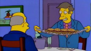 Seymour is holding some Steamed Hams