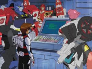 Optimus, Wing Saber, Arcee and Kicker