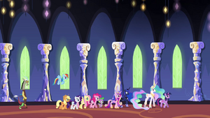 Ponies, Discord and princesses walking in the castle