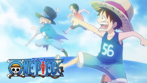 Young Luffy, Young Sabo and Young Ace in the Eyecatch in Wano Arc
