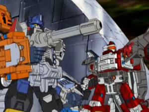 Optimus and Jetfire in battle (Ep. 19)