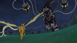 Takeru and Pegasusmon vs Cerberumon