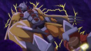 WarGreymon and Taichi came to save Hikari & Gatomon