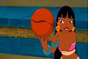 Chel holding Bibo ball