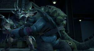 Tmnt requiem slash leatherhead vs super shredder by ninjaturtlefangirl-daz6v1w