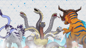 Garurumon & Greymon vs Orochimon