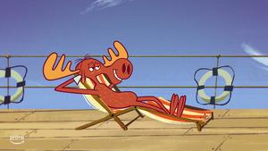 Bullwinkle is relaxing in beach chair