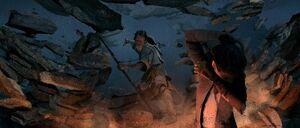 Luke destroys the hut concept art