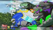 Four Bakugan with their Baku-Gear