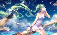 Hatsune-Miku-green-hair-anime-girl-seagulls-sea 1920x1200