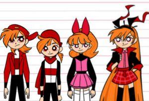 Brick the Rowdyruff Boy, Blake the Rowdyright Boy, Blossom the Powerpuff Girl, and Berserk the Powerpunk Girl