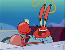 Mr. Krabs smiling happily