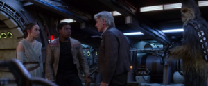 Rey, Finn, Han and Chewbacca