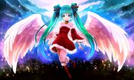 Konachan-com-151064-arie9-bow-christmas-clouds-dress-green eyes-hatsune miku-long hair-moon-night-twintails-vocaloid-wings