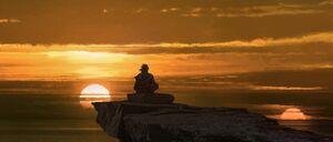 TLJ - Luke on ledge sunset - concept art