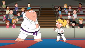 Peter is at the karate tournament