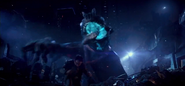 Baby kaiju attacks Newton