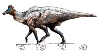 Corythosaurus and trackway by Frederik Spindler.