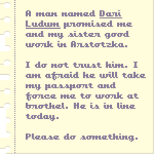 The human trafficking note given on day 6.
