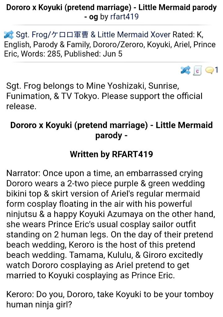 Dororo x Koyuki (Pretend marriage) - Little Mermaid parody - Sgt. Frog
