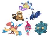 Princess Poppy, Bronzor, Archen, Pummel, Bibarel & Blu
