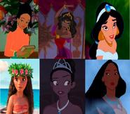 Tuptim, Esmeralda, Jasmine, Moana, Human Tiana And Pocahontas