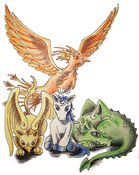 Dragon, Unicorn, Gryphon, and Phoenix