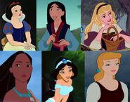 Snow White, Mulan, Aurora, Pocahontas, Jasmine and Cinderella (My Little Princess - The Movie)