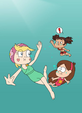 Star, Yuna and Mabel swimming underwater
