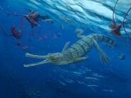Teleosaurus swimming