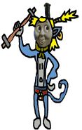 Thomas flexes his strong muscles.