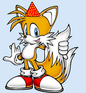 Tails with a party hat
