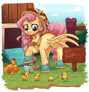Fluttershy and chickens by ariamidnighters ddxbiiq-fullview