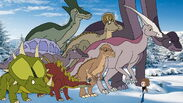 The dinosaurs try to convince the hatchling to play with Milly and her Friends