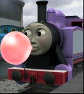 Rosie blowing bubble gum