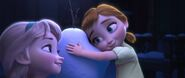 Little Anna and Elsa with Olaf