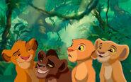 Young Simba, Young Nala, Young Kovu and Young Kiara (The Lion King)