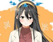 Anime girl with yellow headband dizzy birdies
